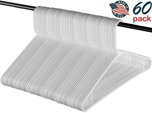 Best Standard Everyday White Plastic Hangers, Made in USA Long Lasting Tubular Hangers, Value Pack of 60.