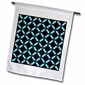 Jaclinart Blue Green and Navy Geometric Floral Collection - Contrasting shades of blue crisscross diamonds and squares pattern - 18 x 27 inch Garden Flag (fl_63993_2)