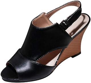 Sandales Femme,Chaussures à la Mode pour Femmes avec Boucle de Ceinture Talons Hauts Sandales compensées pour Femmes Sauvages,Mocassins