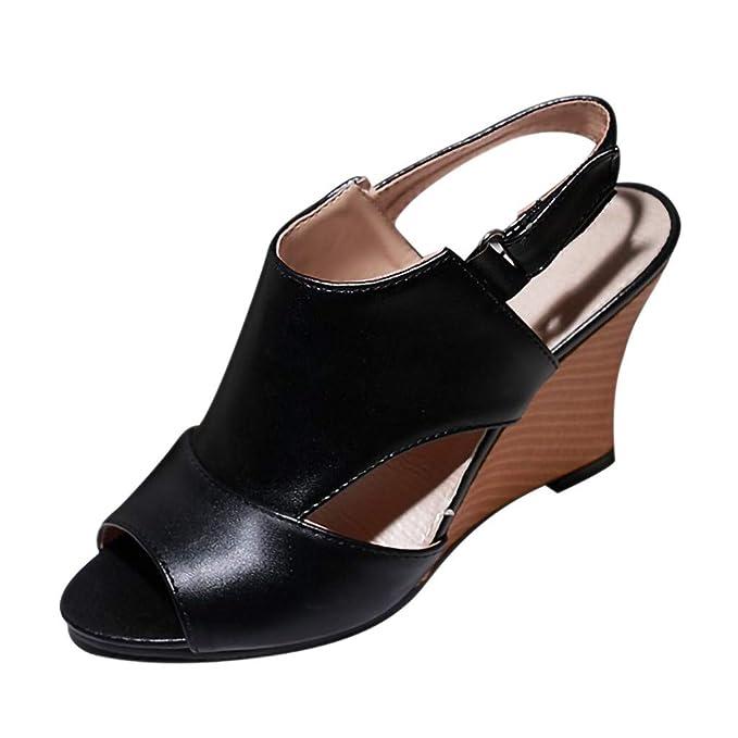 LILICAT✈✈ Moda 2019 Pescado Boca Zapatos Romanos tacón de cuña Sandalias de Gran tamaño Verano Zapatillas Individuales Hebilla de cinturón Tacones Altos ...
