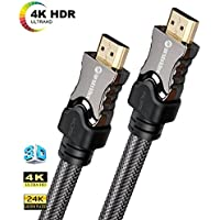 Farstrider v2.0 Ultra High Speed 15 Feet HDMI Cable Supports Ethernet, 3D, 2160P, 4k, 26AWG, CL3, 24K Gold Connector