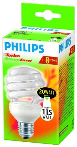 Philips TORNADO ESaver 20W E27 - Lámpara (20 W, E27, 1350 lm, 8000 h, 2700 K, Cromo, Color blanco): Amazon.es: Iluminación