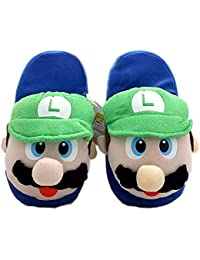 Super Mario Bros Luigi Plush Slippers Green (One Size Fits All)