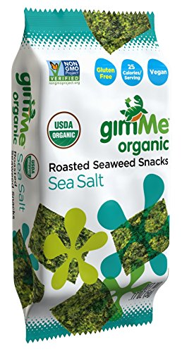 gimMe Snacks Organic Roasted Seaweed Snacks, Sea Salt, 0.17 Ounce (Pack of 12)