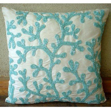 Luxury Aqua Blue Throw Pillows Cover, Sea Weeds Beach and Ocean Theme Pillows Cover, 16