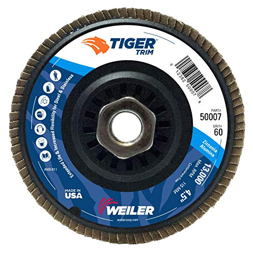 Weiler Trimmable Tiger Abrasive Flap Disc, Type 29, Threaded Hole, Composite Backing, Zirconia Alumina, 4-1/2