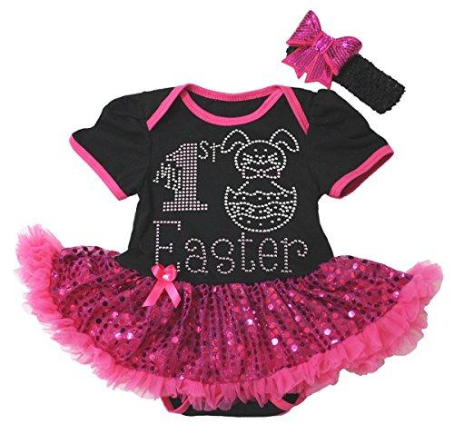 [My 1st Easter Baby Dress Rabbit Egg Black Bodysuit Hot Pink Sequin Tutu NB-18m (6-12 Months)] (Baby St Patricks Day Clothing)