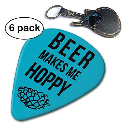 Janvonne Beer Makes Me Hoppy 351 Shape Classic Celluloid Guitar Picks for Guitar Bass - 6 Pack .46mm -