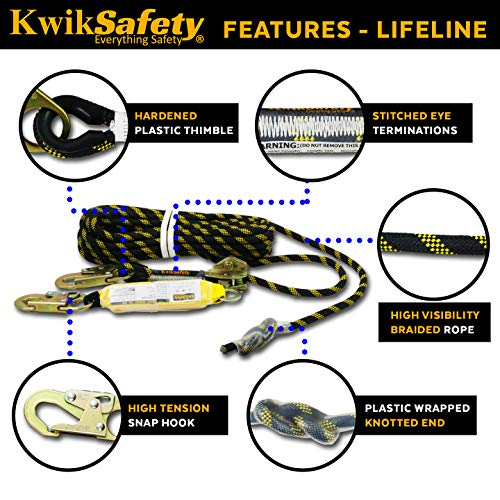 KwikSafety (Charlotte, NC) TSUNAMI Kit Vertical Lifeline Assembly 50 ft. Rope Snap hook Integrated Shock Absorber Dry Bag for Gear/Equipment | ANSI OSHA Personal roofing Fall Protection Arrest System by KwikSafety (Image #3)
