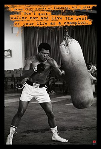 Muhammad Ali Poster Punchbag Hate Training 24x36 Wood Framed Poster Art Print