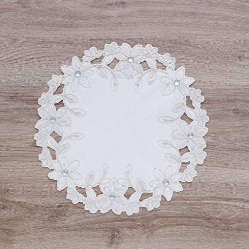 Set of 4, Elegent White Fabric Placemats with Embroidery Flower for Wedding Party Home Dinner Room Decoration Shinny Place Mat - Placemats Trimmed