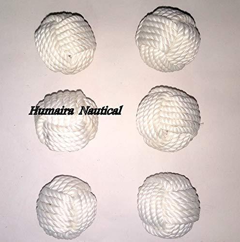 Omaira Naaz 2.5 Nautical Decorative Rope Ball//Set of 6 Cotton Rope//Nautical Bowl Filler//Rope Decor A