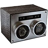Pangaea D750 Double Automatic Metal Watch Winder (Black Leather)
