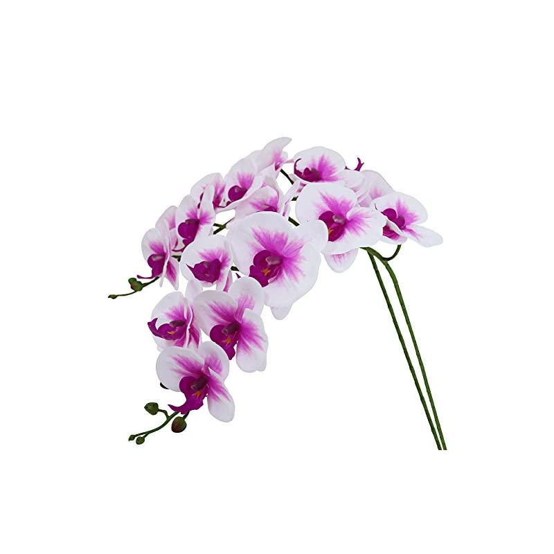 silk flower arrangements htmeing 38 inch artificial phalaenopsis flowers branches real touch (not silk) orchids flowers for home office wedding decoration,pack of 2 (white pink)