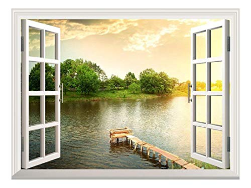 Removable Wall Sticker Wall Mural A small Wood Pier for Fishing at a River Creative Window View Wall Decor