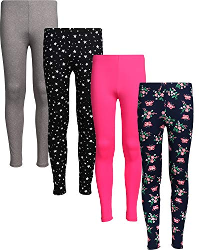 (dELiA*s 4 Pack Girl's Basic Yummy Active Leggings (Solids & Prints) (7/8, Stars/Flowers)' )