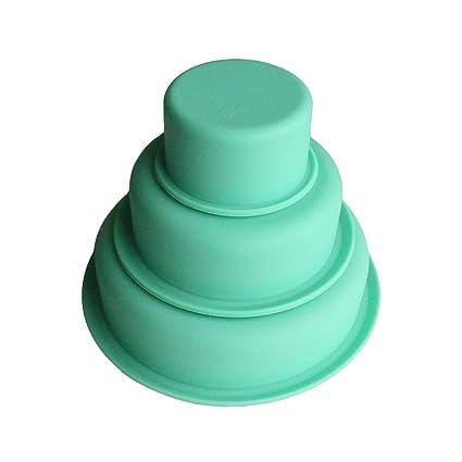 Moldes de repostería DIY silicona molde molde redondo para tartas de tres capas, resistencia de