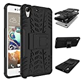 HTC Desire 728 Case,DAMONDY Shock Proof Tough Rugged Dual-Layer Armor Hybrid TPU&PC Hard Case with Built-in Kickstand for HTC Desire 728 728G -black