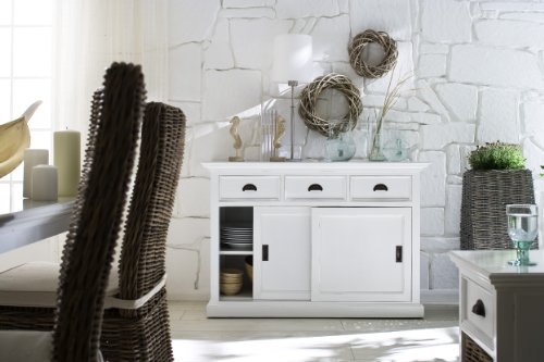 NovaSolo Halifax Pure White Mahogany Wood Sideboard Dining Buffet With Storage : Sliding Doors And 3 Drawers - 3 Drawers, 2 Sliding Doors (4 Internal Shelving Compartments) Assembled 33.5 x 49.2 x 19.7 - sideboards-buffets, kitchen-dining-room-furniture, kitchen-dining-room - 51Qac3NdybL -