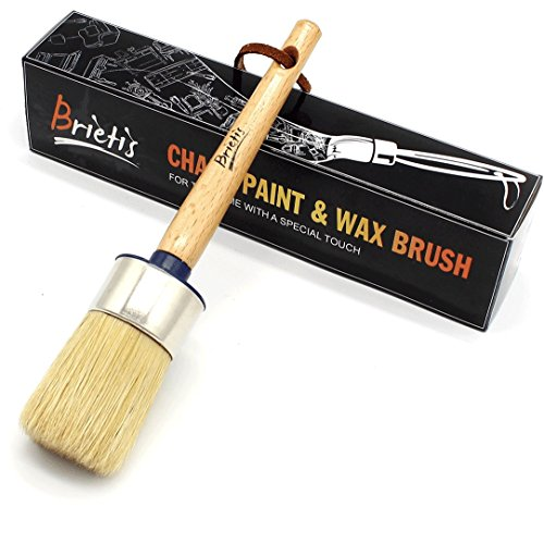 BRIETIS Chalk Paint Wax Brush - PREMIUM BOAR BRISTLES with SMOOTH COVERAGE for Furniture Painting, Waxing - Stencils, Soft, Large Round Chalked Brushes - 100% LIFETIME GUARANTEE for your BEAUTY HOUSE (Dry Stencil Paint Brush)