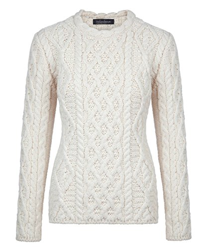 (Ladies Aran Sweater, Imported from Ireland, Natural, Small)