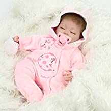 Nicery Reborn Baby Doll Soft Simulation Silicone Vinyl 18inch 45cm Magnetic Mouth Lifelike Boy Girl Toy Pink Rabbit Eyes Close