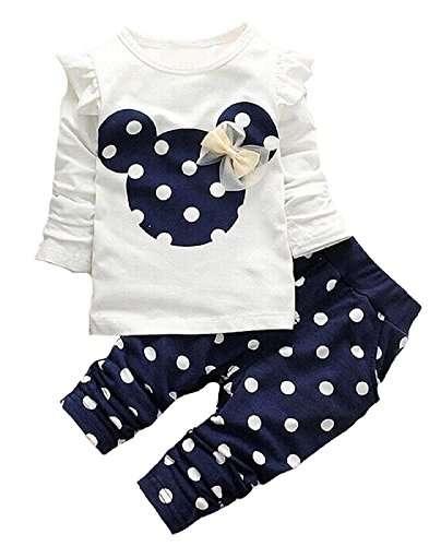 Cute Toddler Baby Girls Clothes Set Long Sleeve T-Shirt and Pants Kids 2pcs Outfits(White+Navy,3T) ()