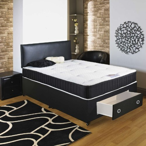 Chester Headboard (Hf4you Black Chester Ortho Divan Bed - 5ft King Size - End Drawer - 20 Black Faux Leather Headboard by Hf4you)