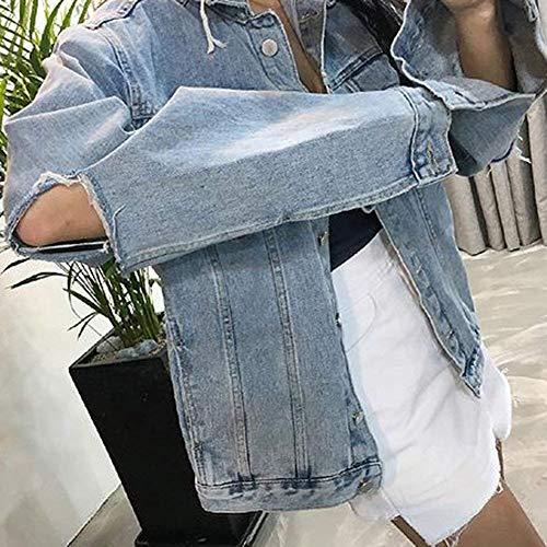 Blau Jeans Fashion Stlie Autunno Giubbino Maniche Giacca Casual Grazioso Giacche Tendenza Lunghe Cavo Ragazze Fidanzato Donna Eleganti Denim Relaxed EUqUwg