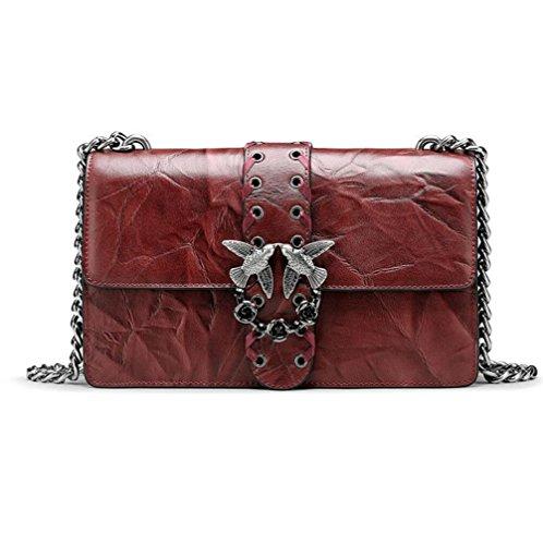 TINGTING Bolso De Cadena Pequeño Bolso De Cuero Con Estilo Bolso De Mensajero Bolso De Metal Para Mujer Golondrina,Red Red