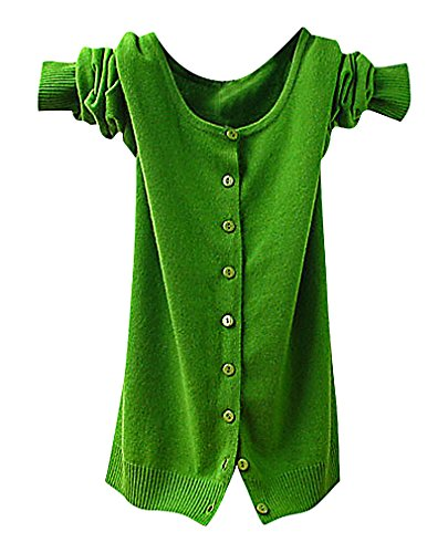 Maze, Women's Long Sleeve Buttoned Ribbed Cuff V Neckine Short Sweater Cardigan, GreenO XXL ,Manufacturer(XXXL)