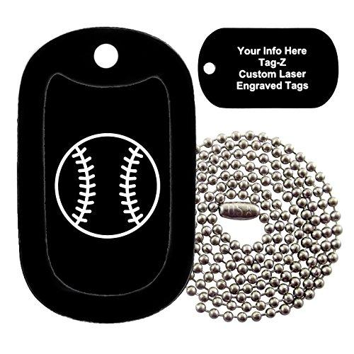 Military Dog Tags - CUSTOM ENGRAVED Baseball - Black - Military Dog Tag Necklace - Tag-Z (Bat Silencer Baseball)