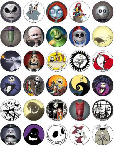 30 EDIBLE CAKE IMAGE-30 NIGHTMARE BEFORE CHRISTMAS CUPCAKE TOPPERS]()