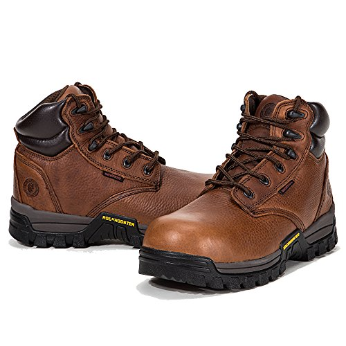 ROCKROOSTER Work Boots for Men, Composite Toe,Waterproof, Kevlar Puncture, Safety Shoes,Ventilated, Perfect Breathable, EEE-Wide (AT697Pro Brown 9 AM)