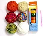 Pony Knitting Spool Knitter or Wood French Knitting Doll, 4 Pins tricotin- Instructions and Needle with 6 Colored Bonbons Balls of Yarn & Plastic Tapestry Needle Kit for Beginner Knitter