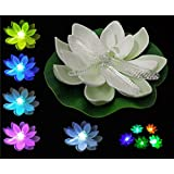 12pcs White Water Lily Lotus flower LED Waterproof Lights Color Changing Plants Battery Operated Decoration For Night Light