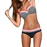 St.Dona Womens Sexy Padded Bikini with Underwire Push up Triangle Top Splicing Color Bottom 2 Piece Bathing Suits