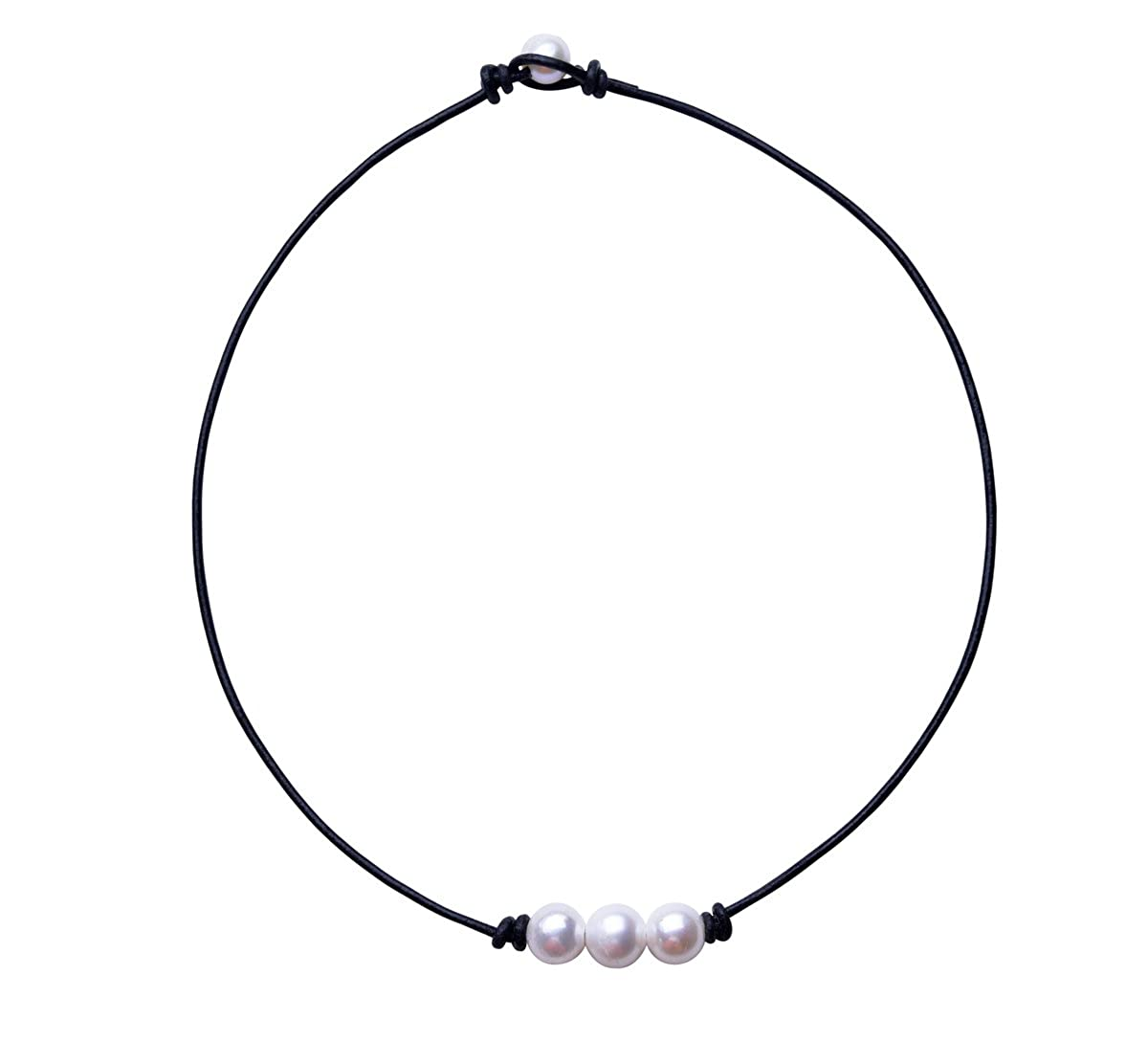 465fe63cb69b3 Amazon.com: The Feeling 3 White Pearl Bead Choker Necklace Knotted ...