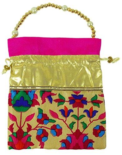 Tradicional floral impreso indio mujeres nupciales bolso bolso potli embrague - elija el color Rosado