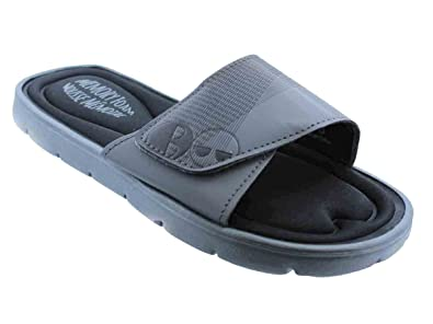 10ccf8fccf60 Black and White Men s Memory Foam Slide Sandal (11 US