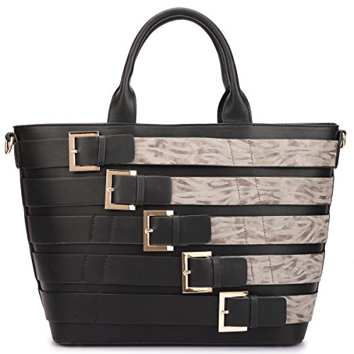 Dasein Women's Fashion Contrast Color Medium Tote with Buckle Details