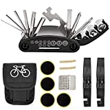 NSpring Bicycle Repair Tool Kit - 16 in 1 Multifunction Bike Fix Tools with Portable Bag and Two Tire Pry Bar Rods - Practical Bicycle Repair Tool
