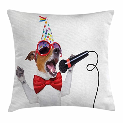 Popstar Party Throw Pillow Cushion Cover by Ambesonne, Jack Russel Dog with Sunglasses Party Hat and Bowtie Singing Birthday Song, Decorative Square Accent Pillow Case, 36 X 36 Inches, - Sunglasses Song