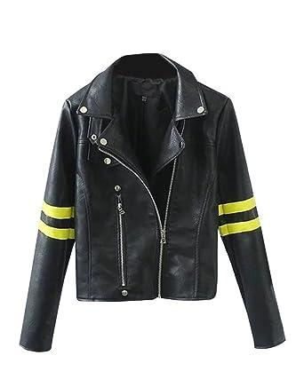 new style 2cc93 901e9 giacche in ecopelle Donna bomber Retro Biker Giacca in Finta ...