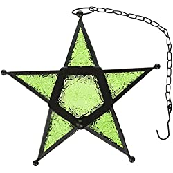 CraftVatika Metal Glass Green Star Hurricane Hanging Candle Lantern Sparking Wedding Tea Light Votive Holder | Decorative Candle Lanterns For Home, Living Room, Birthday, Wedding Decoration