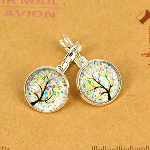 Family Tree of Life Hoop Earrings Murano Glass Leverback Earrings