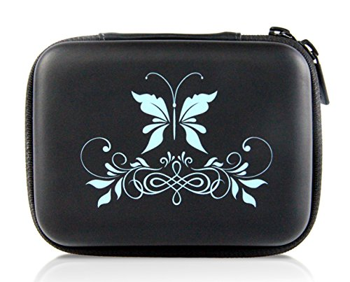 SHBC Essential Oil Carrying Case –Blue Butterfly Hand drawn-Hard Shell Case Holds 10 roller bottles suitable for 5ml, 10ml and 15ml-Perfect for young living doterra storage travel Bag