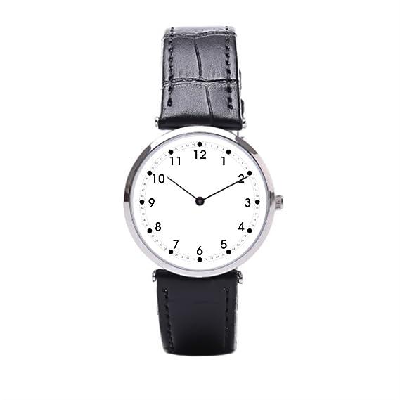 Sueño etapa blanco piel banda reloj de segunda mano números negro cuero Mens Reloj: Amazon.es: Relojes