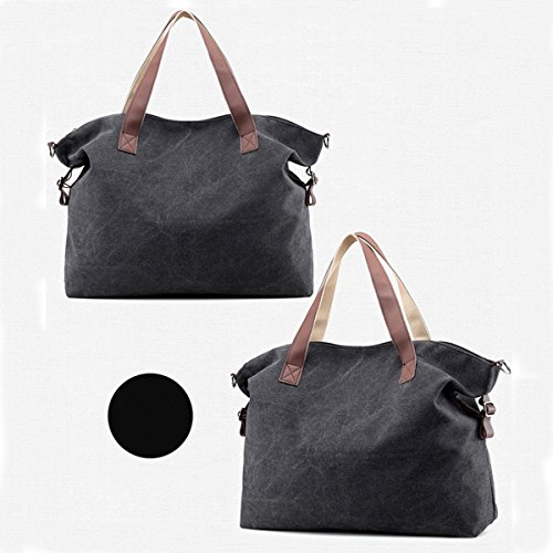 Bags Handbags Tote Canvas Big Messenger Casual Black Bag Hobo Solid OURBAG Shoulder Women RTxqWZU