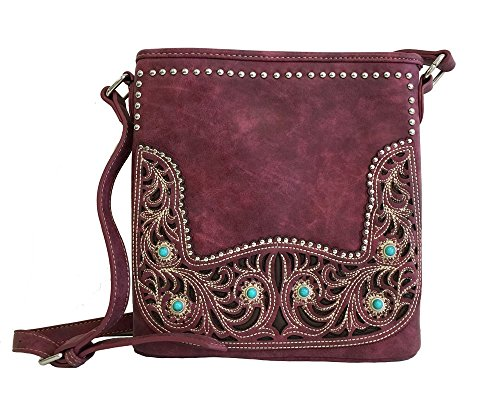- Montana West Concealed Gun Messenger Purse Cross Body Floral Cutouts Burgundy